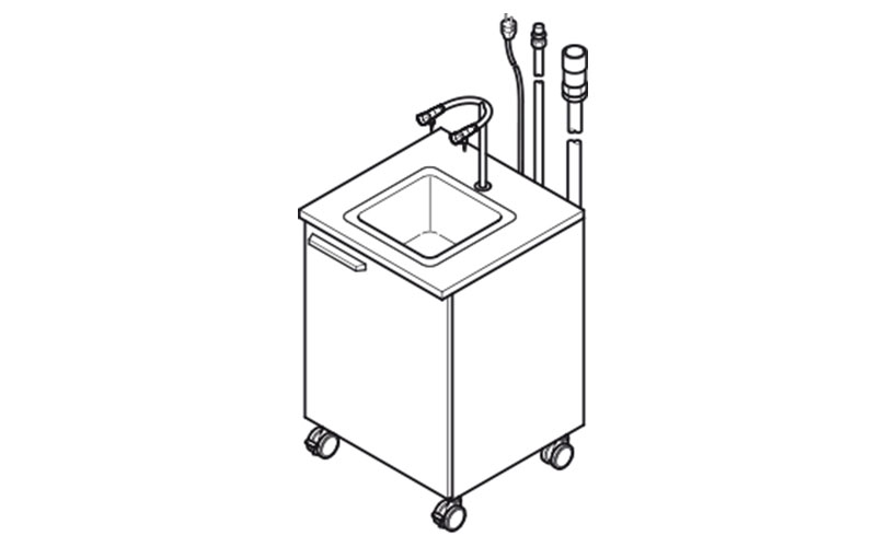 Mobile sink on castors