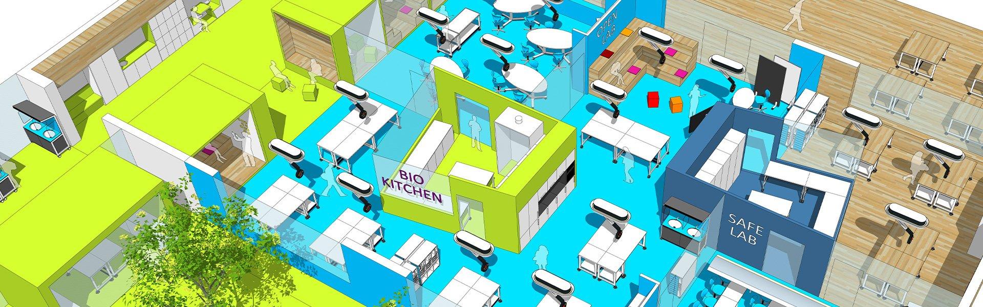 3D-Modell einer Schule mit verschiedenen Laboren